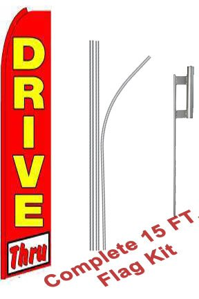 "NEOPlex - ""Drive Thru (Extra Wide)"" Complete Flag Kit - Includes 12' Swooper Feather Business Flag With 15-foot Anodized Aluminum Flagpole AND Ground Spike"