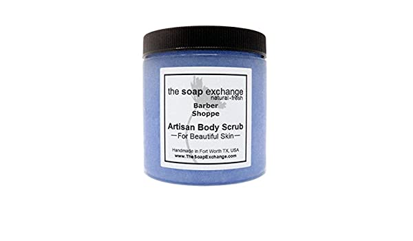 The Soap Exchange Sea Salt Body Scrub - Barbershop Scent - Hand Crafted 16  fl oz / 480 ml Natural