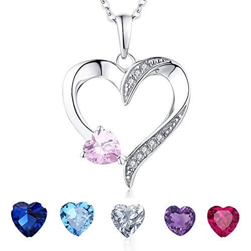 YL Women's Heart Necklace Sterling Silver Heart by Heart Pendant Pink Cubic Zirconia Jewelry Anniversary - Necklace Heart Pink