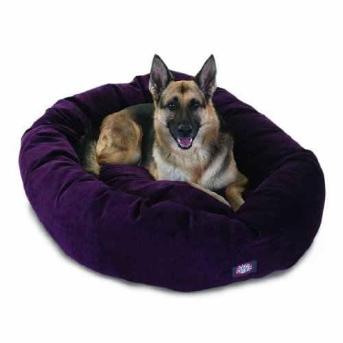 52 inch Aubergine Villa Collection Micro Velvet Bagel Dog Bed By Majestic Pet Products by Majestic Pet