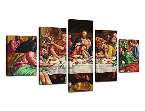 - 5 Piece Wall Decor Last Supper Painting Framed Jesus Oil Painting Canvas Wall Pictures for Living Room Modern Posters and Prints Giclee Print Gallery Wrap Artwork Stretched Ready To Hang(60''Wx32''H)