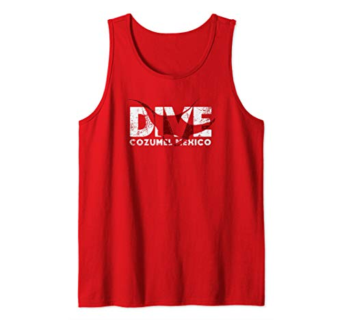 DIVE Cozumel Mexico SCUBA Diver Manta Ray Diving Tank Top