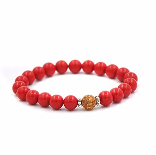 - GTVERNH-Natural Cinnabar Beads Bracelets Bracelets Evil Children Red Single Ring Short Male and Female