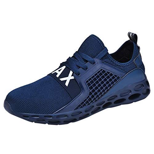 ANJUNIE Mens Womens Running Shoes Breathable Sneakers Mesh Soft Sole Walking Footwear (Blue,44) ()
