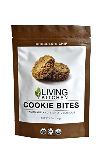 Living Kitchen - Chocolate Chip - Cookie Bites - Organic, Raw, Vegan, Gluten-Free - 3.5 oz each (3 Pack)