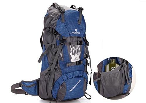 Paquete de deporte al aire libre de mochila mochilas impermeables para hombres y mujeres 60L doble bandolera , blue Blue