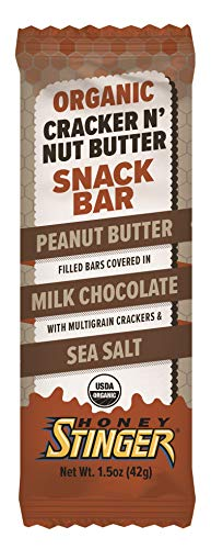 Honey Stinger Organic Cracker N' Nut Butter Snack Bars, Peanut Butter Milk Chocolate, 1.5 Ounce (12 Count)