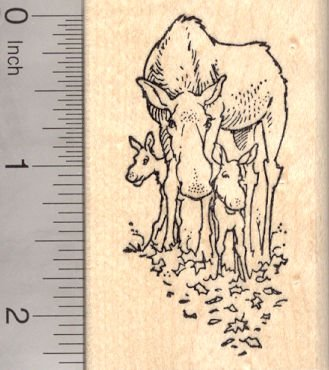 Mother Moose and Calves (Baby Moose) Rubber Stamp