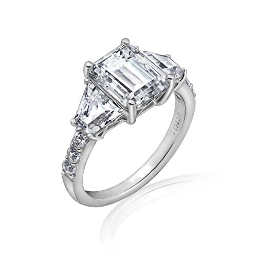 Emerald Cut Cubic Zirconia Ring - DIAMONBLISS Sterling Silver Cubic Zirconia Emerald & Trapeze Cut Ring, Size 10