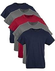 GILDAN Men's Crew T-Shirt Multipack Underwear (Pack of 5), Navy/Charcoal/Red (5 Pack), XL
