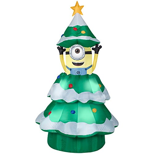 animatronic lighted christmas minion inflatable 7 feet tall gemmy - Animatronic Christmas Decorations