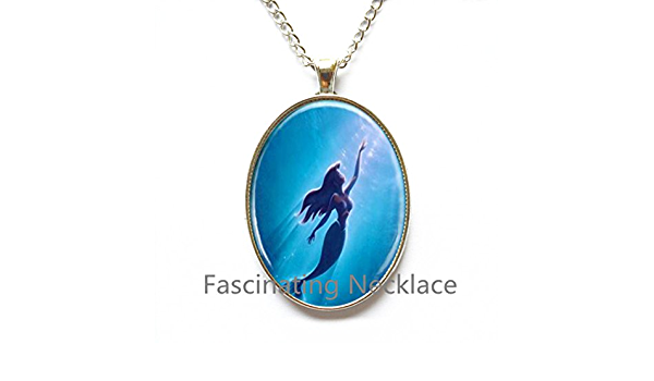 fairy necklace sea shell blue pendant resin plastic ocean sea theme water pendant gift for her Ocean necklace mermaid necklace