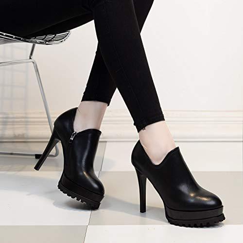 Shoes Platform And Heel Women'S Thirty KPHY Deep Sexy High Spring Rome 12Cm Black Nine Single Fine Shoe Fashion Autumn Waterproof xqwa7S4