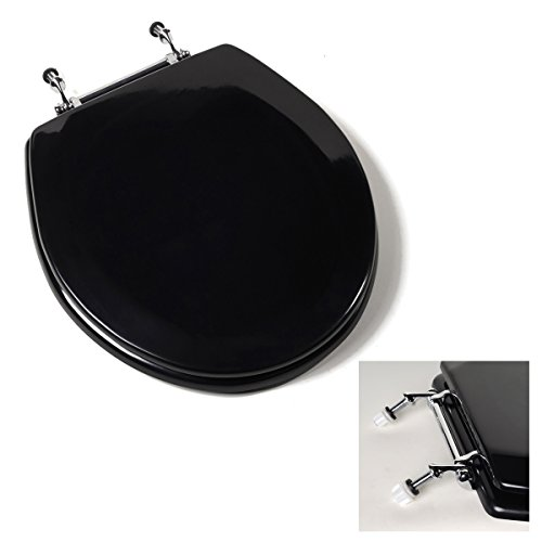 Deluxe Black Wood Round Toilet Seat - Chrome Hinges
