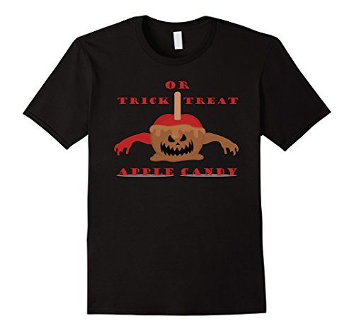 Mens Trick Or Treat - Apple candy - Zombies, Funny Gif Tees Medium Black (Diy Apple Halloween Costume)