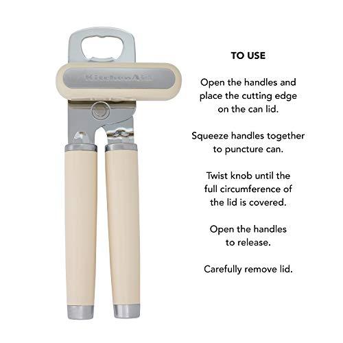KitchenAid Classic Multifunction Can Opener / Bottle Opener, 8.34-Inch, Almond Cream