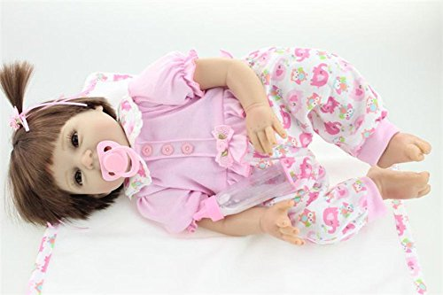 22'' Silicone Realistic Reborn Baby Pink Pigtails Girl Alive Doll Look Real Gifts for Kids Playhouse Toys Collects by NPK