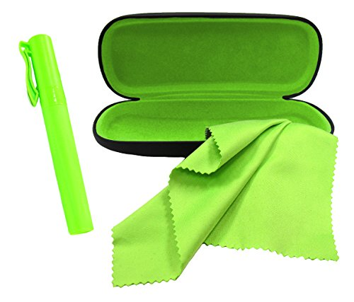 Eyeglasses Case Set Includes Eyeglass Case Eyeglass Cleaner Spray and Microfiber Cloth Great for All Eyewear and Sunglasses Green By OptiPlix