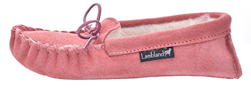 Lambland Girls - Boys Genuine Suede and Lambswool Moccasin Slippers with Soft Sole - Pink - Blue - Beige Pink u8IwP