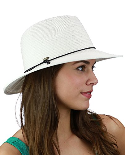 C.C Braided PU Leather Trim Flop Brim Panama Fedora Summer Sun Hat, White - Trim Fedora