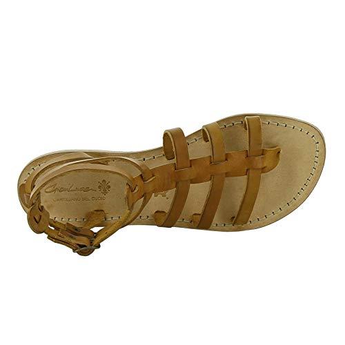 Sandalias Bronceado Mano Mujeres A Hecho Gladiador Cuero En Italia Gianluca gfxdUqpg
