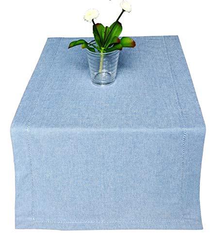 light blue and white table runner - 1