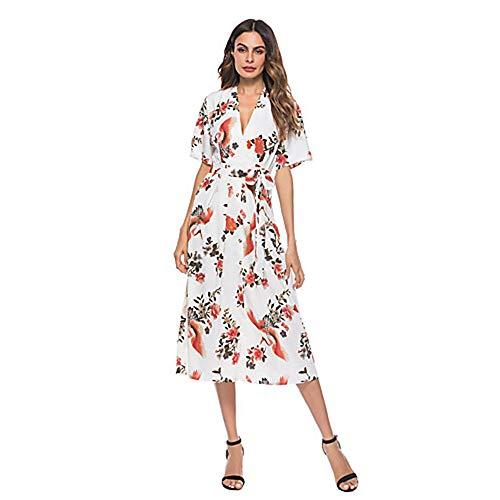 Chic Vaina Calle TTSKIRT Floral White Midi L Mujer Vestido De aPq5wxnIU5