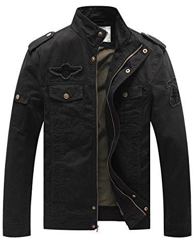 WenVen Men's Fashion Cotton Jackets (Black, US Size M)