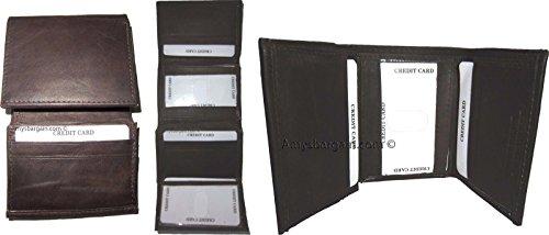 Genuine Leather Wallet BNWT Lot of 3 Trifold Men's Billfold Brown Men's Wallet qwWtaIUv