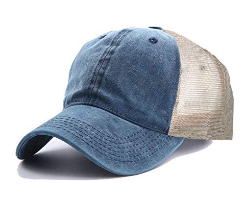 - Baseball Hat Cap Women Distressed , Adjustable Trucker Hat Mesh Back(No ponytail Denim Blue)