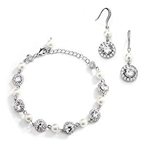 Mariell Ivory Pearl & Round CZ Bridal Bracelet & Earrings Set – Wedding Jewelry Sets for Bridesmaids
