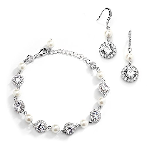 Mariell Ivory Pearl & Round CZ Bridal Bracelet & Earrings Set - Wedding Jewelry Sets for Bridesmaids