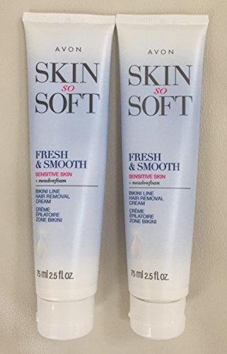 2 Avon SKIN SO SOFT Fresh & Smooth Sensitive Skin Bikini Line Hair Removal Cream Avon Skin So Soft Hair Removal