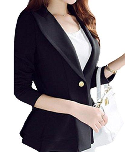 Abetteric Womens Career Puff Sleeve Sharp Shoulder Western Welt Jacket Black ()