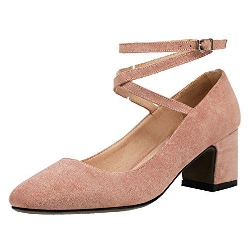 AIYOUMEI Damen Geschlossen Knöchelriemchen Pumps mit Schnürung und 5cm Absatz Chunky Heel Bequem Sommer Wildleder Schuhe Rosa