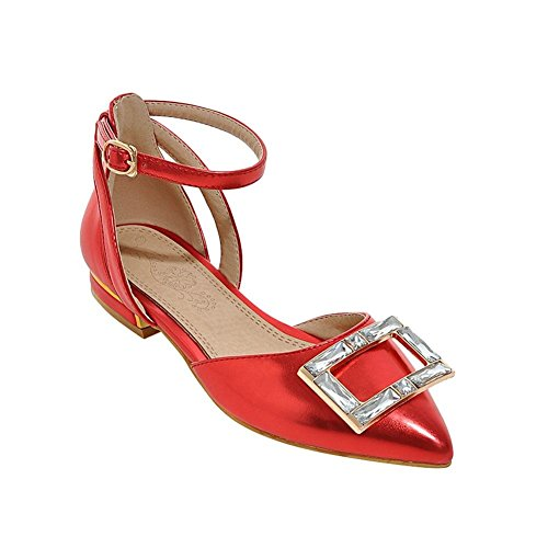 Carolbar Womens Rhinestones Pointed Toe Charm Fashion Party Date Buckle Ankle Strap Low Heel Sandals Red FNMVHyrq