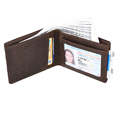 (IDEAWIN Slim Bifold Wallet RFID Blocking Genuine Leather Men Front Pocket Wallet)