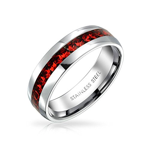 Color Ruby Channel Set - Bling Jewelry July Birth Month Red Color Channel Set Crystal Eternity Band Ring for Women for Men Silver Toned Stainless Steel