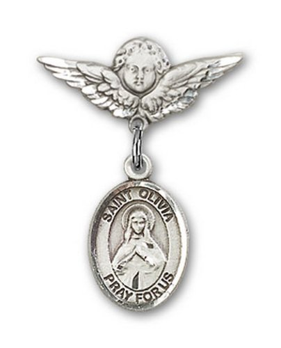 Icecarats Créatrice De Bijoux En Argent Sterling St. Olivia Charme Ange Pin Badge 7/8 X 3/4