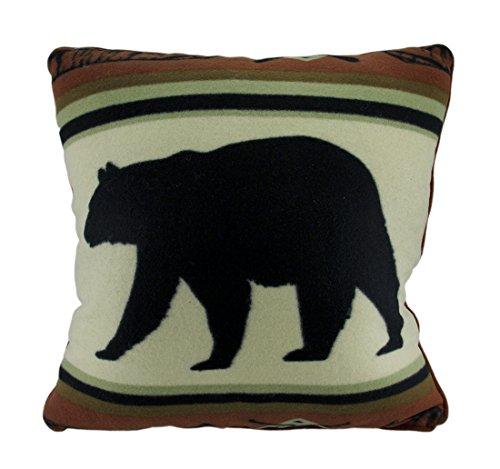 Polyester Throw Pillows Black Bear Lodge Rustic Fleece Decorative Throw Pillow 18 Inch 18 X 18 X 5 Inches (Black Bear Throw)