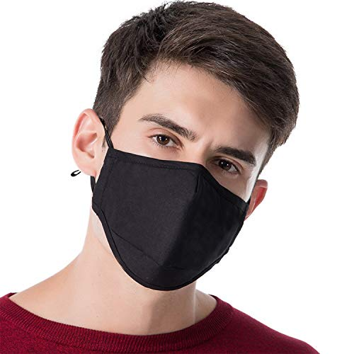 Anti Dust Face Mask, 100% Cotton Universal Anti-Fog Dust-Proof Anti-Static PM2.5 Activated Carbon 5-Layers Mask, Washable, Adjustable and Comfortable -
