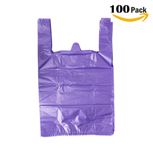 LazyMe 12 x 20 inch Plastic Thick Purple T Shirt Bags, Handle Shopping Bags, Multi-Use Large Size Merchandise Bags, Purple Plain Grocery Bags, Durable (100, Purple)