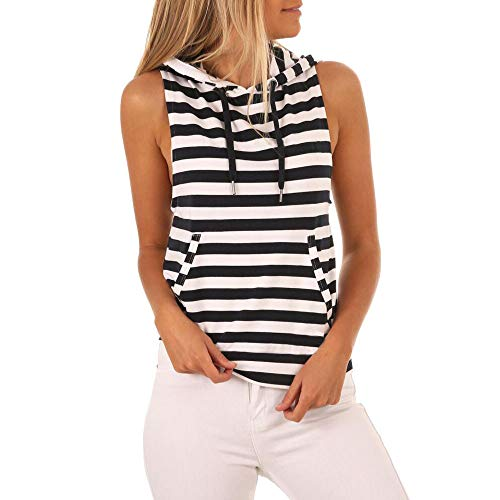 Sunhusing Fashion!Women's Sexy Sleeveless Vest V-Neck Striped Button Buckle Hem Bow Tie T-Shirt