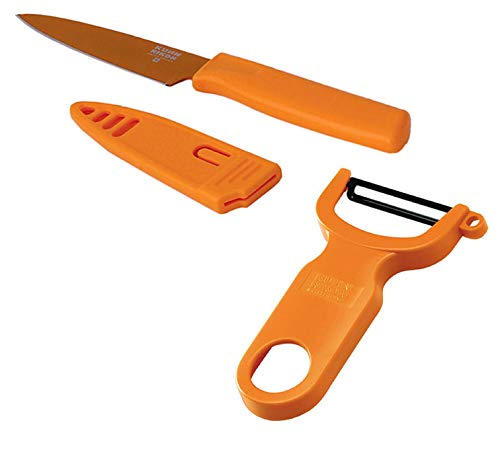 Kuhn Rikon Paring Colori Knife and Swiss Peeler Set of One Each, Orange
