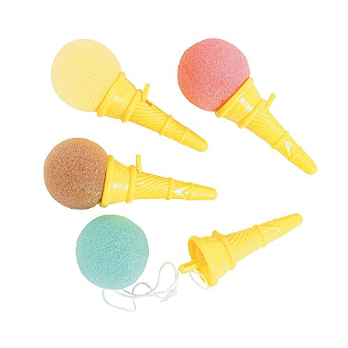 Mini Ice Cream Shooters - Pack Of 12 - 3.5 Inches Assorted Colors Balls, Brown, Pink And Blue, Yellow Cones – For Kids, Boys And Girls, Great Party Favors, Toy, - Pink Color Brown
