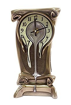 11.25 Inch Melting Warped Clock Polished Bronze Cracked Eggshell Face by Unknown