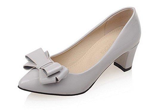 Damen Lackleder Quadratisch Zehe Mittler Absatz Schnüren Rein Pumps Schuhe, Cremefarben, 37 AllhqFashion