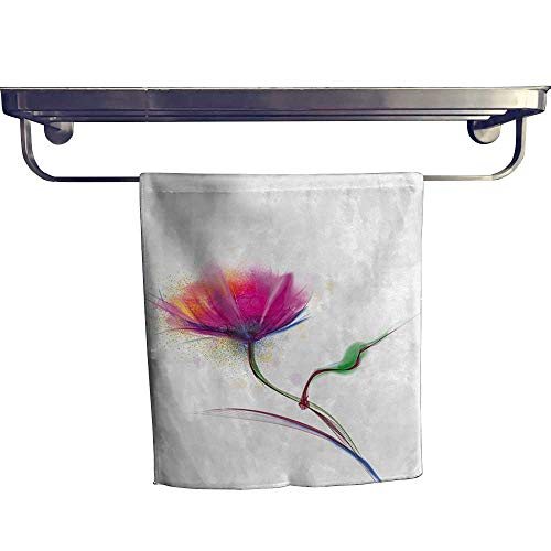 """HoBeauty home Sports Ttowel,Simplistic Poppy Design Purity and Grace Symbol Splattered Image Fuchsia ,Ultra Soft, Cozy and Absorbent W 12"""" x L 27.5"""""""