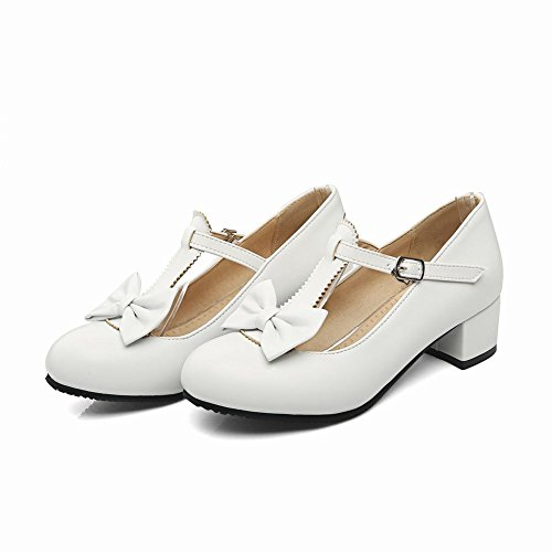 Carolbar Women's Concise Charm Bow Mid Heel T-strap Buckle Court Shoes White LFjutO7