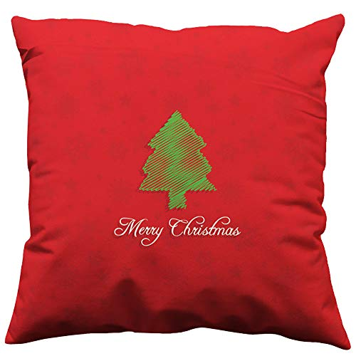 1PCS Red Christmas Theme Simple Pillow Case,Snowflake Home Decor Pillow Cushion Cover,Suitable for Place On the Sofa, Coffee Shop, Library, Book Store, Party, Club (C)